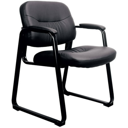 Chair Star Base ((Set of 4) Essentials by OFM ESS-9015 Leather Executive Side Chair with Sled Base, Black, Reception Waiting Room Chair )