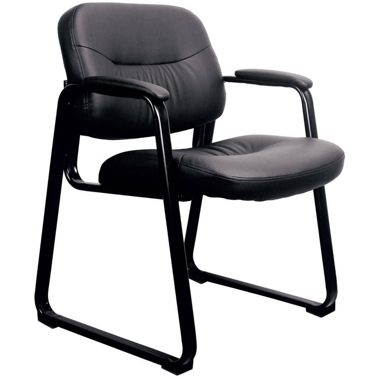 Essentials By OFM ESS 9015 Leather Executive Side Chair With Sled Base,  Black,