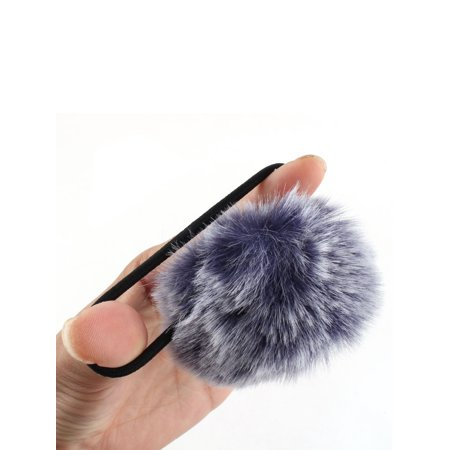 Unique Bargains Faux Fur Ball Decor Stretchy Band DIY Hairstyle Ponytail Hairband Navy Blue - image 2 de 4