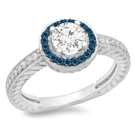 1.00 Carat (ctw) 18K White Gold Round Cut Blue & White Diamond Ladies Bridal Vintage Halo Style Engagement Ring 1 CT