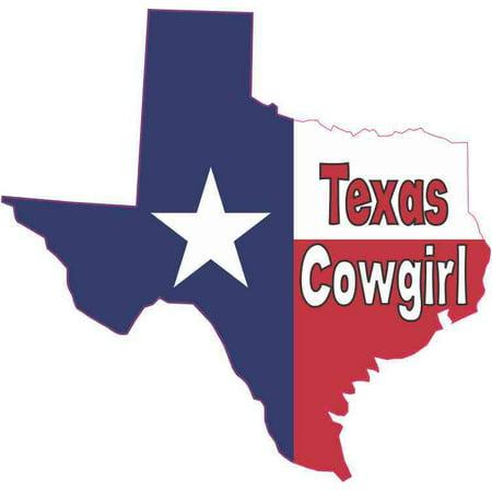 Flag Vinyl Decal Bumper - 5 x 5 Texas Cowgirl Texas Flag Car Decal Bumper Sticker Truck Window Vinyl