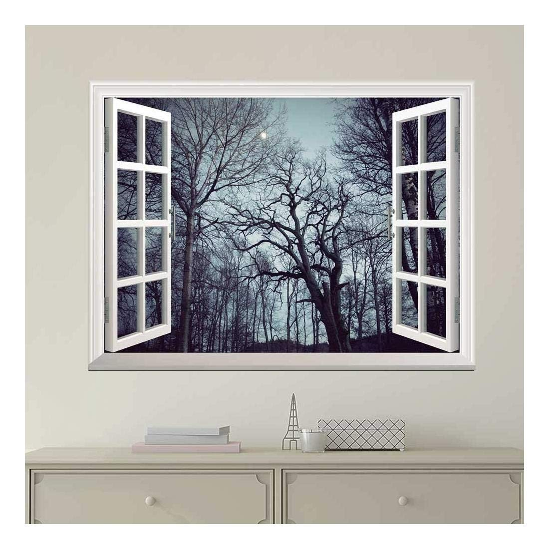 wall26 Modern White Window Looking Out Into a Forest with Trees Full of Branches - Wall Mural, Removable Sticker, Home Decor - 24x32 inches