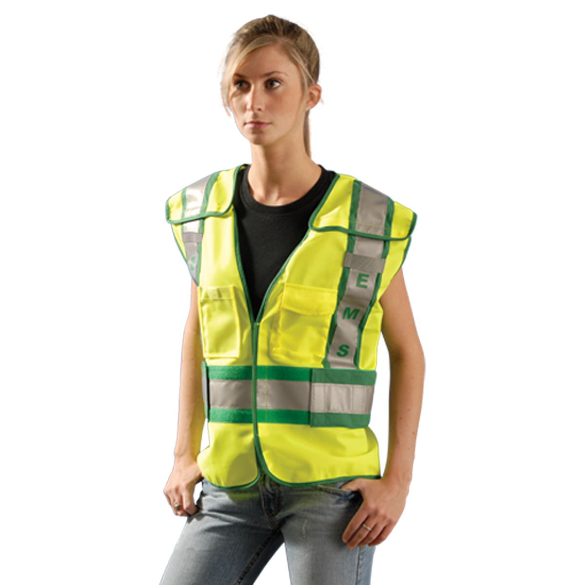 Occunomix LUX-PSE ANSI 207 Solid Public EMS Safety Vest-Yellow/Green-M/L