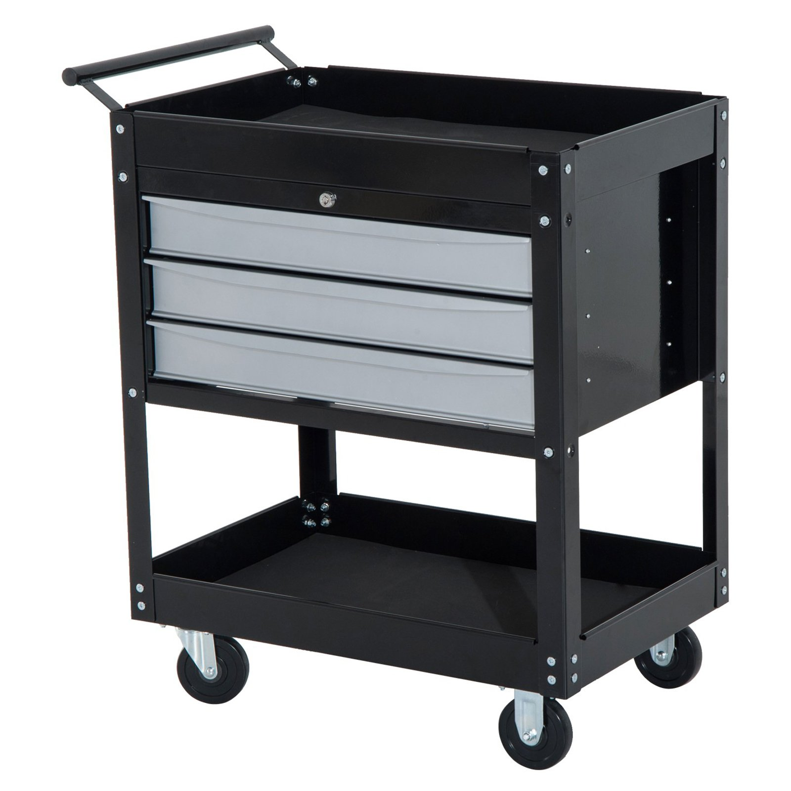 HomCom 3-Drawer Top Storage Rolling Tool Chest Cart