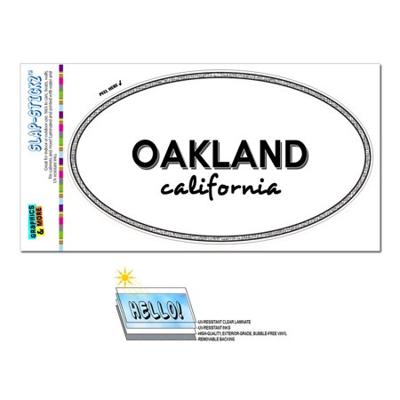 Oakland, CA - California - Black and White - City State - Oval Laminated Sticker