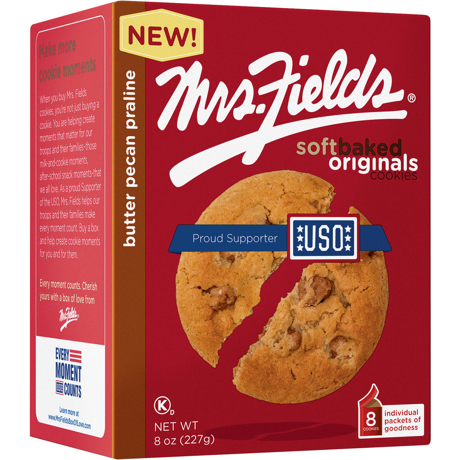 Mrs. Fields Butter Pecan Praline Soft Baked Original Cookies, 8 count, 8 oz
