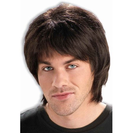 Adult Mens Brown 70s Dude Costume Heart Throb Idol Wig - 70s Mens Wig