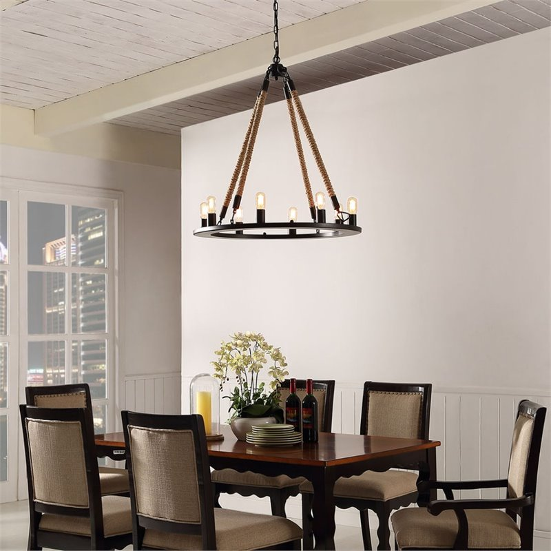 Modway Encircle Pendant Chandelier with 8-Bulb Fixture in Black