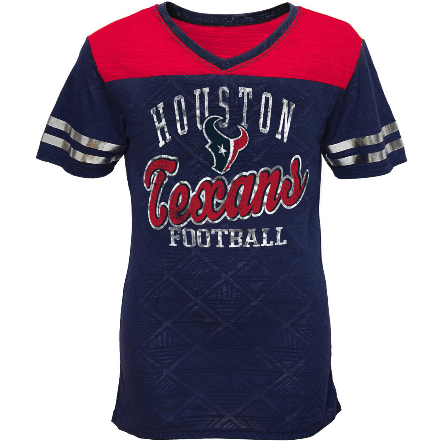 NFL Girls Texans Short Sleeve Vneck Team Top
