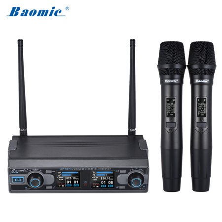Baomic D-332 Professional Dual Channel UHF Digital Wireless Handheld Microphone System 2 Microphones & 1 Receiver 6.35mm Audio Cable for Karaoke Family Party Performance Presentation Public Address