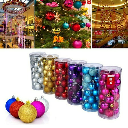 24pcs Christmas Tree Xmas Balls Decorations Baubles Party Wedding Ornament Home Decor ()