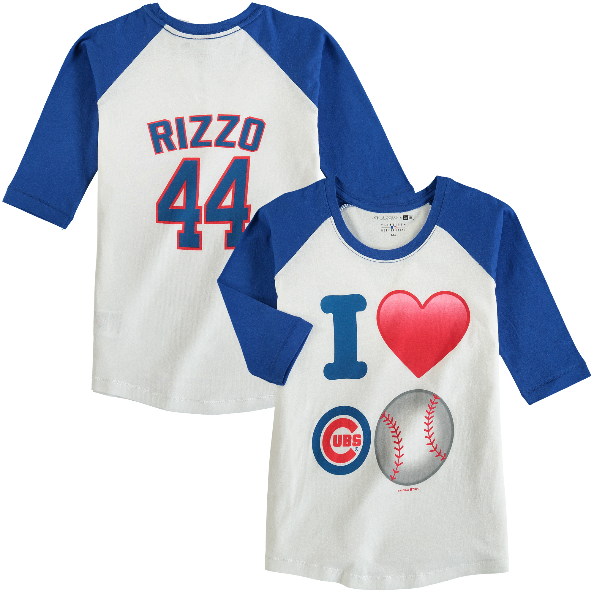 Anthony Rizzo Chicago Cubs 5th & Ocean by New Era Girls Youth Emoji Love Player Name & Number 3/4-Sleeve Raglan T-Shirt - White/Royal