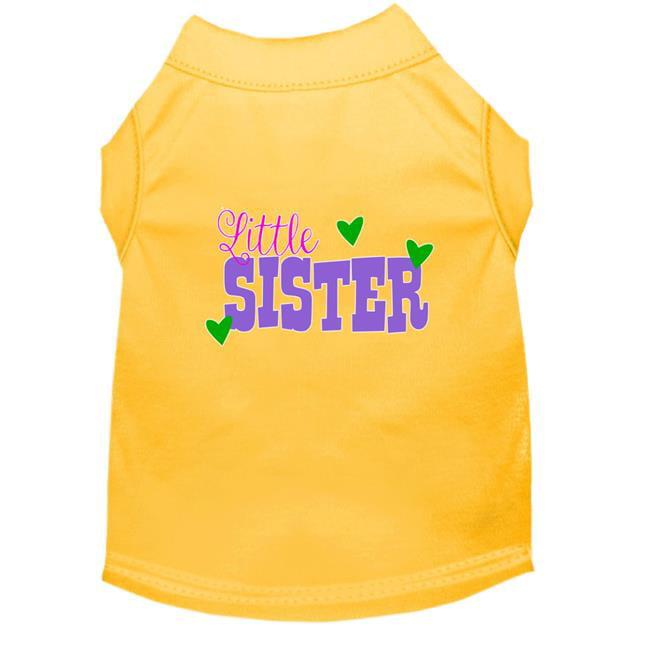 Little Sister Screen Print Dog Shirt Yellow XXXL