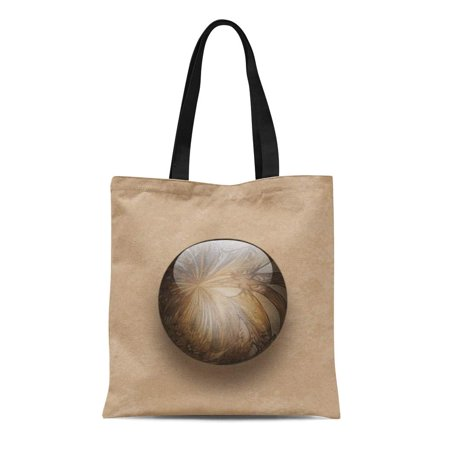 ASHLEIGH Canvas Tote Bag Beige Sphere Coffee Brown Shiny Marble Tan Glass Glassy Reusable Handbag Shoulder Grocery Shopping -