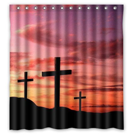MOHome Cross Jesus Shower Curtain Waterproof Polyester Fabric Size 66x72 Inches
