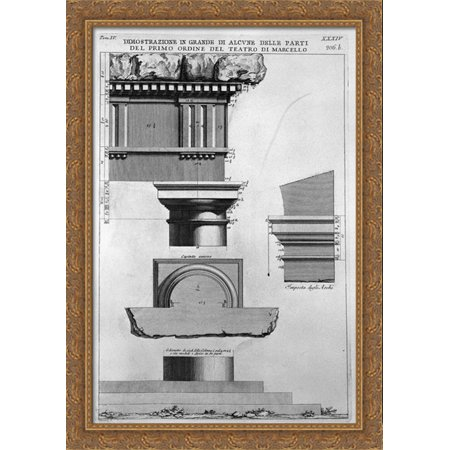 The Roman Antiquities  T  4  Plate Xxxiv  Vista Of Some Of The Great Parts Of The First Order Of The Theatre Of Marcellus 28X40 Large Gold Ornate Wood Framed Canvas Art By Giovanni Battista Piranesi