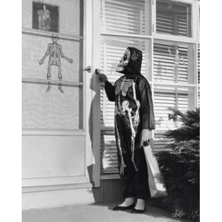 Person wearing a Halloween costume pressing the doorbell of a house Poster Print - 6 Person Halloween Costumes