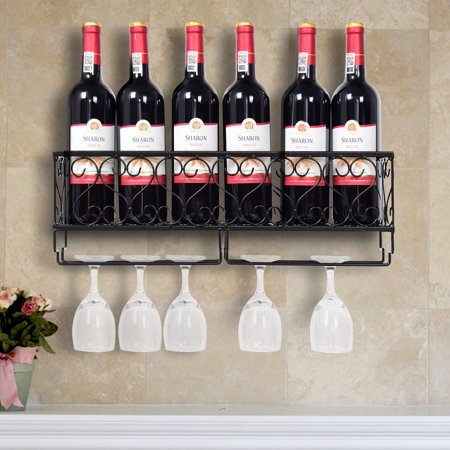 Wall Mounted Metal Wine Rack Wine Bottle Storage w/ Glass Holder Home Bar Decor ()