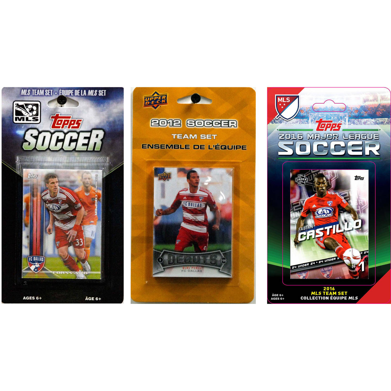 C&I Collectables MLS FC Dallas 3 Different Licensed Trading Card Team Sets