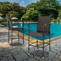 Zimtown Outdoor Patio 2PCS Brown Rattan Bar Chairs Wicker Bar Stools