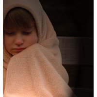 Canvas Print Freeze Evening Lonely Alone Blanket Child Girl Stretched Canvas 32 x 24
