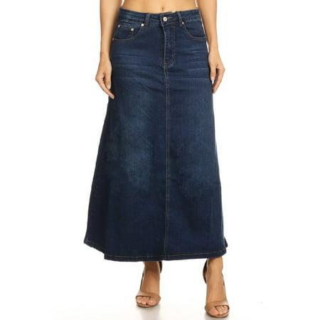 (Women's Juniors Mid Rise A-Line Long Jeans Maxi Denim Skirt)