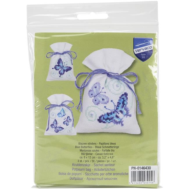 3.25 x 4.75 in. Butterflies Bags On Aida Counted Cross Stitch Kit - Blue - image 1 of 1