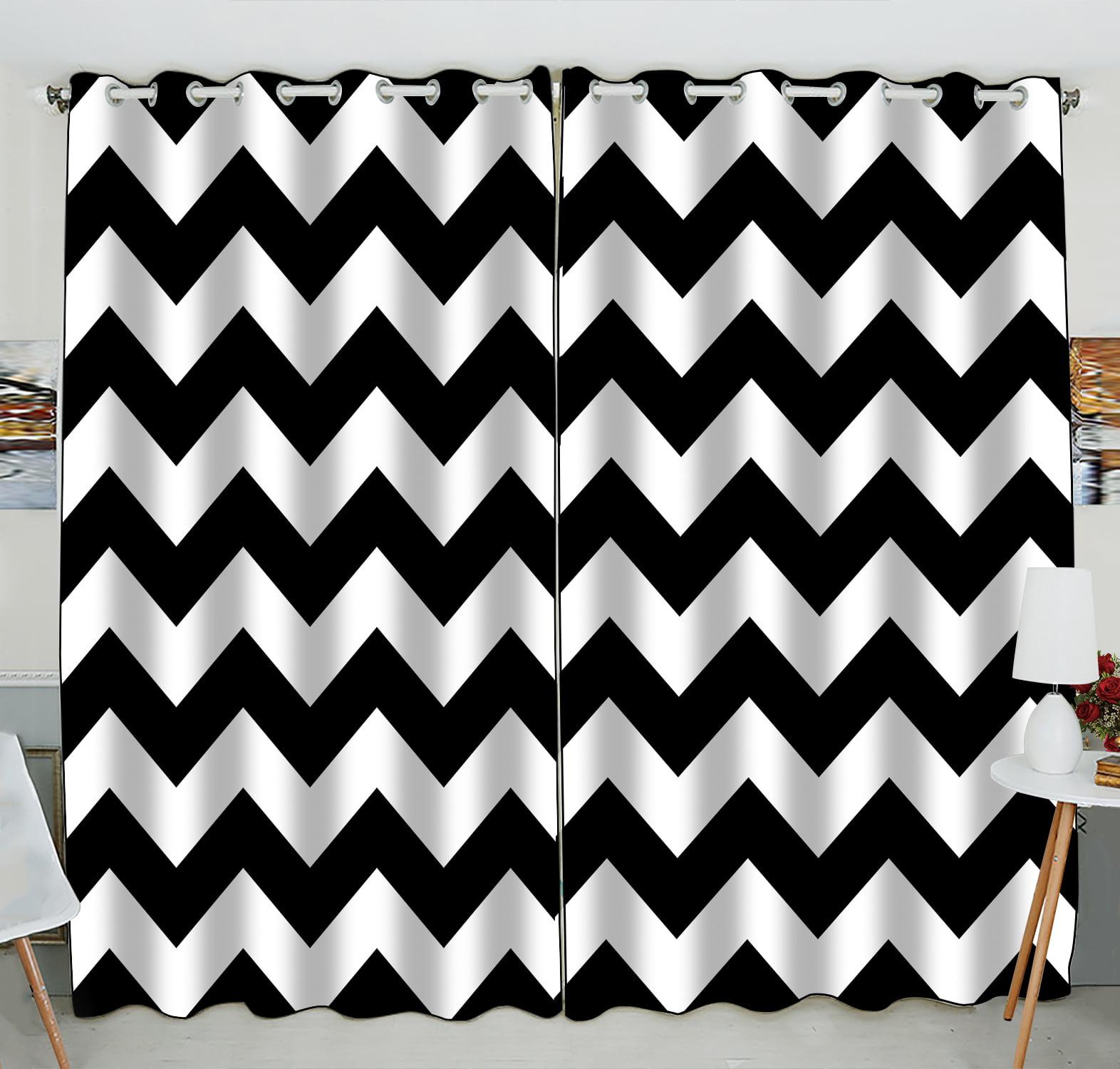 Gckg Stripe Window Curtain Black White Chevron Zigzag Stripe Pattern Grommet Blackout Curtain Room Darkening Curtains For Bedroom And Kitchen Size 52 W X 84 H Inches Two Piece Walmart Com Walmart Com
