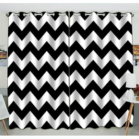 GCKG Stripe Window Curtain,Black White Chevron Zigzag Stripe Pattern Grommet Blackout Curtain Room Darkening Curtains For Bedroom And Kitchen Size 52(W) x 84(H) inches (Two