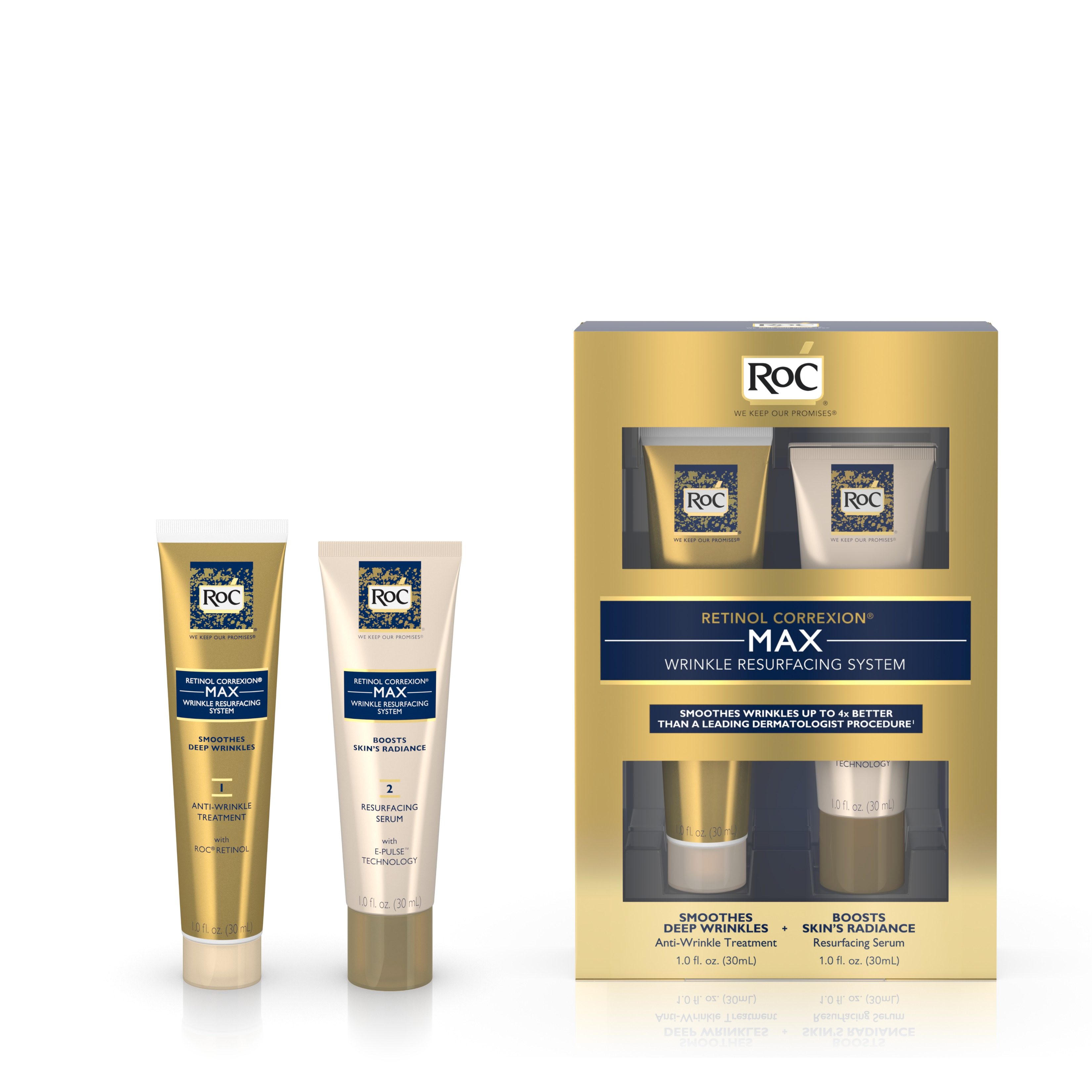 Roc Retinol Correxion Max Wrinkle Resurfacing System - 1 Kit, 3 Pack 1 Set 5-in-1 Electric Wash Face Machine Facial Pore Cleaner Body Cleaning Massage Mini Skin Beauty Massager Brush
