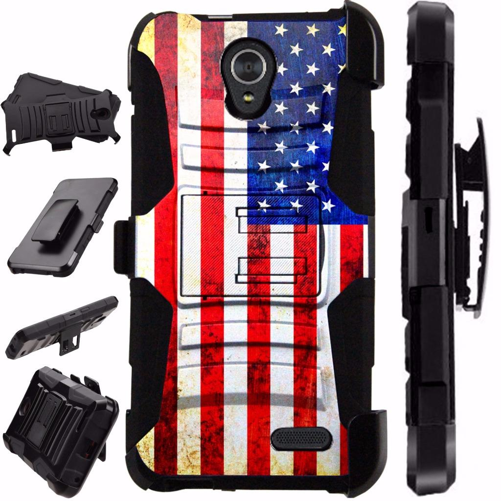 For Alcatel idealXCITE / Alcatel Verso / Alcatel Raven / Alcatel CameoX / Alcatel Fiji Case Armor Hybrid Phone Cover Stand LuxGuard Holster (US Flag Faded)