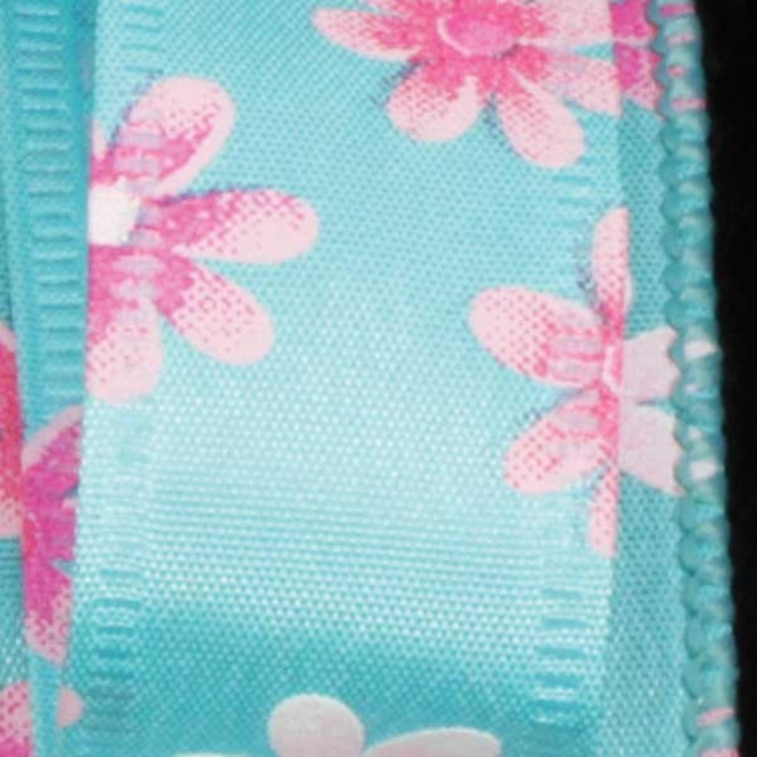 "Spring Flowers Light Blue Floral Wired Craft Ribbon 7/8"" x 40 Yards"
