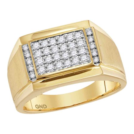 14kt Yellow Gold Mens Round Natural Diamond Square Cluster Fashion Ring (.37 cttw.) size- 10