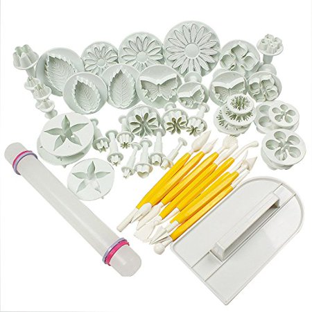HOSL Cake Tools 14 sets (46pcs) Flower Fondant Cake Sugarcraft Decorating Kit Cookie Mould Icing Plunger Cutter Tool, White - image 1 of 1