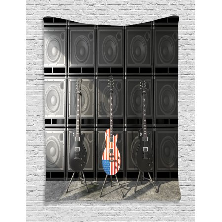 American Flag Tapestry, Black and Us Bass Guitar Electronic Rock Music Theme Digital Graphic Work, Wall Hanging for Bedroom Living Room Dorm Decor, Multicolor, by - Rock And Roll Themes