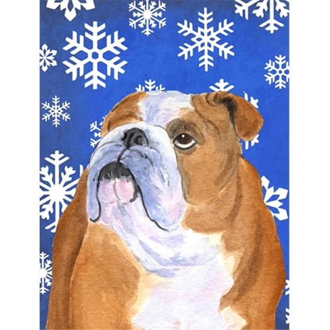 11 x 15 in. Bulldog English Winter Snowflakes Holiday Flag Garden Size - image 1 of 1