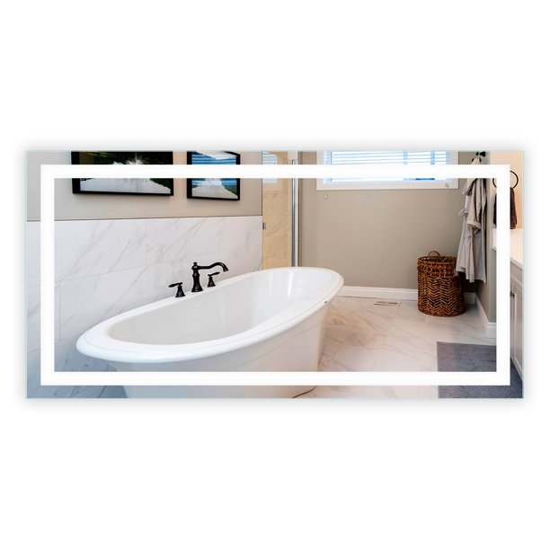 Led Front Lighted Bathroom Vanity, Frameless Vanity Mirror 72 Inches