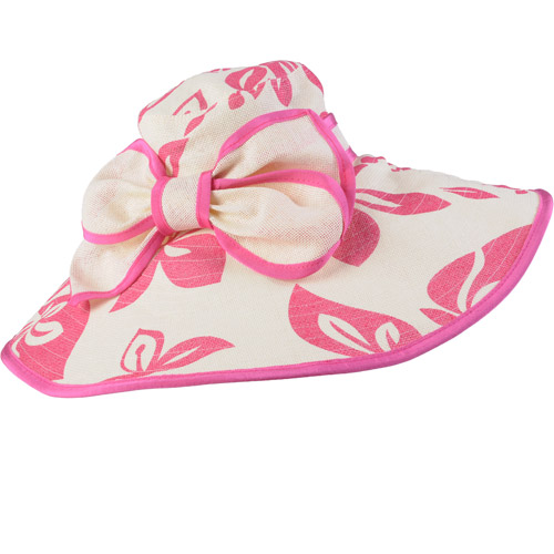Brinley Co Womens Wide Brim Floral Print Bow Accent Hat