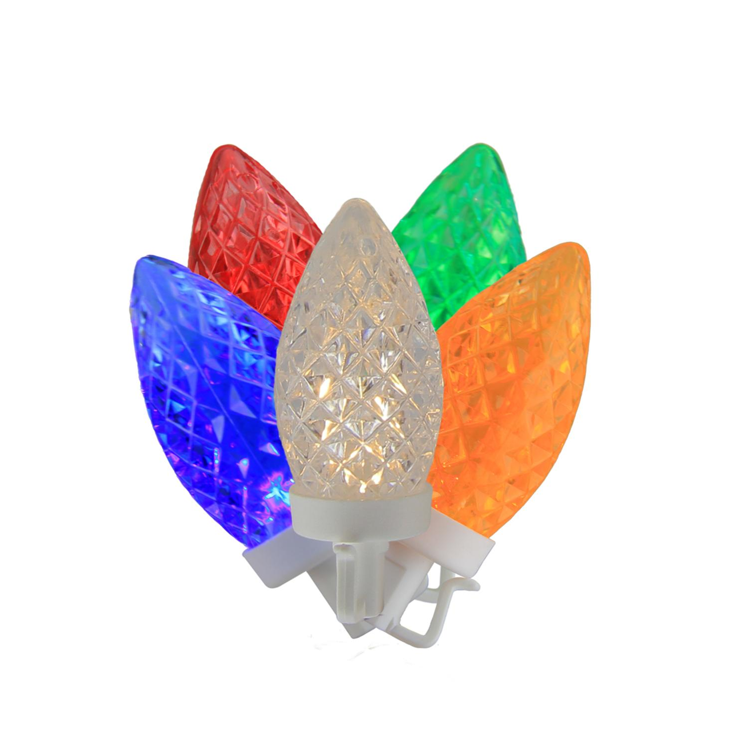 100 Commercial Length Multi-Color LED Faceted C9 Christmas ...