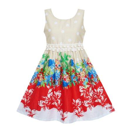 Dress Like 80s Girl (Girls Dress Sleeveless Rose Flower Polka Dot Red)
