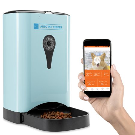 Best Choice Products Smart Automatic Pet Feeder w/ HD Camera, Wi-Fi Enabled Smartphone App, Portion Control, 4.5L Food Capacity, 2-Way Audio Voice Recorder Microphone, Blue, for Cats and