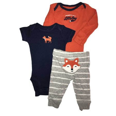 1e66bb15177f4 Carters Infant Boys Orange Blue & Gray Fox Baby Outfits Bodysuits & Pants -  Walmart.com