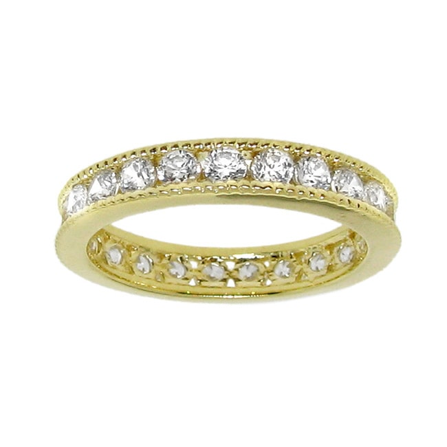 14k Gold over Silver Cubic Zirconia Eternity Band