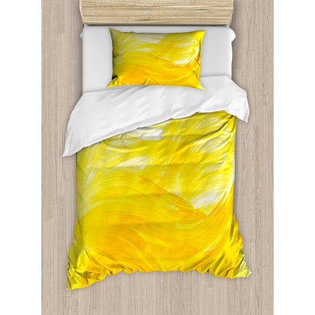 (Yellow and White Twin Size Duvet Cover Set, Painting Style Brushstroke Twist Abstract Artistic Monochrome Wave, Decorative 2 Piece Bedding Set with 1 Pillow Sham, Yellow Marigold, by Ambesonne)