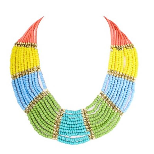 C Jewelry Multicolor Bead Indian Bib Necklace