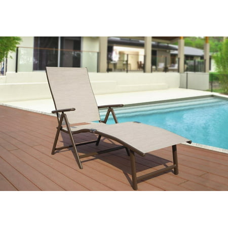 Strange Kozyard Cozy Aluminum Beach Yard Pool Folding Reclining Adjustable Chaise Lounge Chair Beige Caraccident5 Cool Chair Designs And Ideas Caraccident5Info