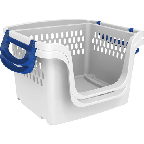 Mainstays Large Stacking Storage Basket Blue Set Of 2