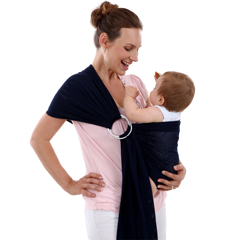 2 Adjustable Aluminum Ring Child Carrier Baby Sling Conveyor Elastic