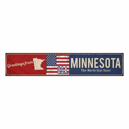 YUSDECOR Greetings from Minnesota State Vintage Rusty Metal Sign Table Runner Home Decor for Home Kitchen Wedding Party Banquet Decoration 16x72 Inch - image 2 de 2