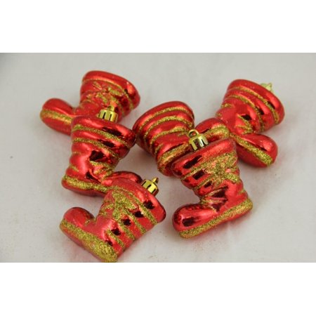 Pack of 6 Red Shiny Shatterproof Glitter Boot Christmas Ornaments 2